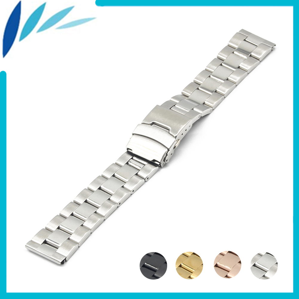Stainless Steel Watch Band 22mm for Samsung Gear S3 Classic / Frontier Safety Clasp Strap Loop Belt Bracelet Black Gold Silver 28mm convex stainless steel watchband replacement watch band butterfly clasp strap wrist belt bracelet black rose gold silver