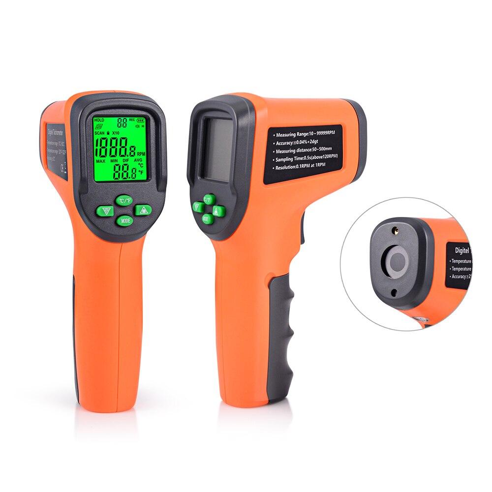 Tacómetro FOSHIO, medidor de 10-99999 RPM, medidores láser digitales, tacómetros fotoeléctricos sin contacto, velocímetro de velocidad de coche