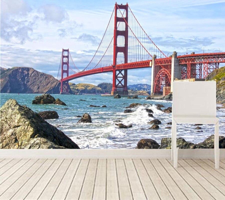 Custom Modern Wallpaper Design,USA Bridges Stones Coast