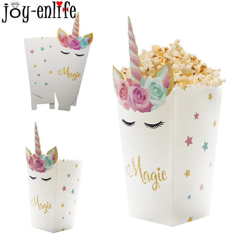 6pcs Magic Unicorn Horn Flowers Paper Popcorn Boxes 1st Birthday Party Decoration Kids Cookies Bags Baby Shower Party Supplies
