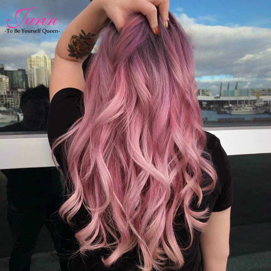 Jarin Peruvian Body Wave 3 Bundles With Closure Pink Ombre Color 4Pcs/lot non Remy Hair Weave With Lace Closure Free Shipping
