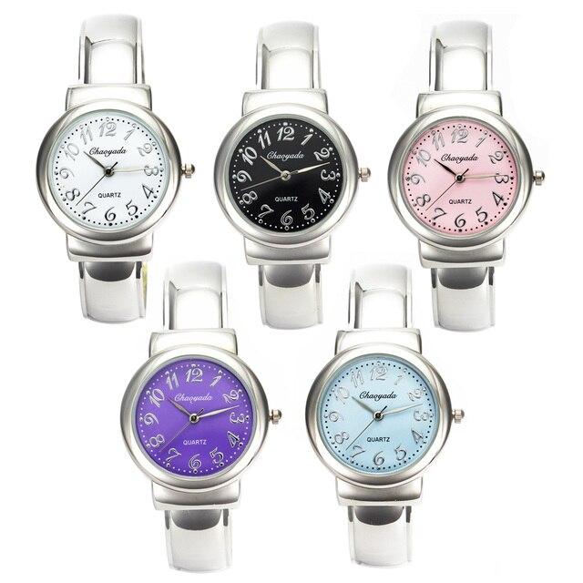 Women Fashion Simple Metal Bracelet Watches Female Ladies Popular Steel Bangle 1