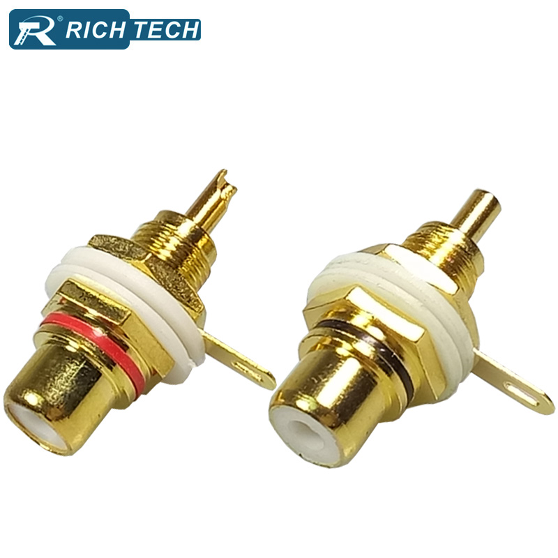 4pcs Gold Plated RCA connector Binding Post RCA Adapter Panel Mount Chassis Audio Socket Bulkhead with Nut Solder CUP terminal free shipping 4 colour gold plated rca socket rca connector 8pcs lot