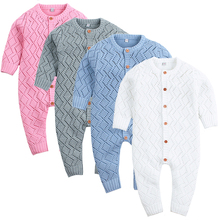 Toddler Boy Jumpsuit Girls Candy Color Knitted Long Sleeve Newborn Baby