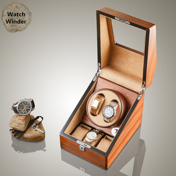 Yao 2 Slots Wood Watch Winders Fashion Automantic Self Mechanical Watch Winder Watch Storage Gift Boxes B0105