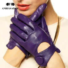 Spring and autumn women leather gloves sheepskin thin fashion trends genuine - L125NN