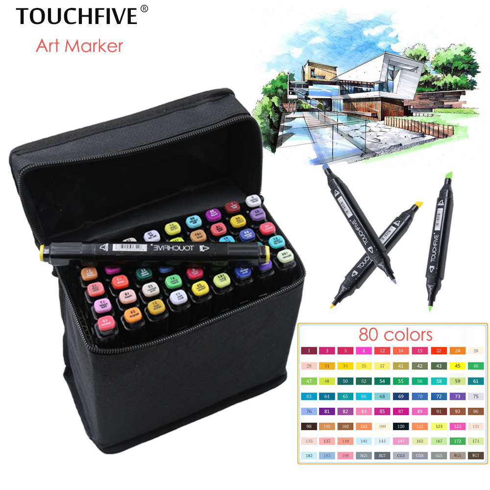 TouchFIVE 30/40/60/80 Colors Drawing Marker Pen Animation Sketch Art Markers Set For Artist Manga Graphic Based Markers Brush touchfive 60 80 168 color art markers set oil alcohol based drawing artist sketch markers pen for animation manga art supplies