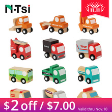 n tsi 3 piece cute wooden assorted construction vehicles and raced mini toy car airplane