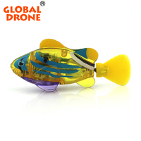 Global Drone 1pc Swimming Led Light Fish Activated Battery Powered Robot Fish Bathroom Toys Bathing Water