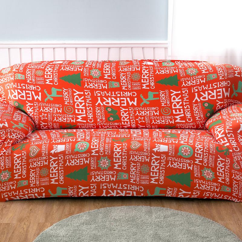Merry Christmas Stretch Letters Printed Sofa Cover For 1 4 Seater ...