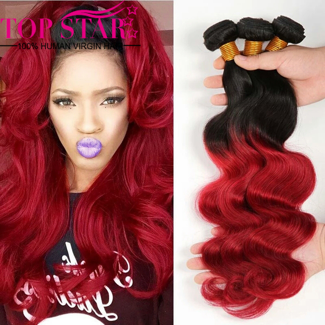 Burgundy Brazilian Virgin Hair Weave Brazilian Body Wave 99j Ombre