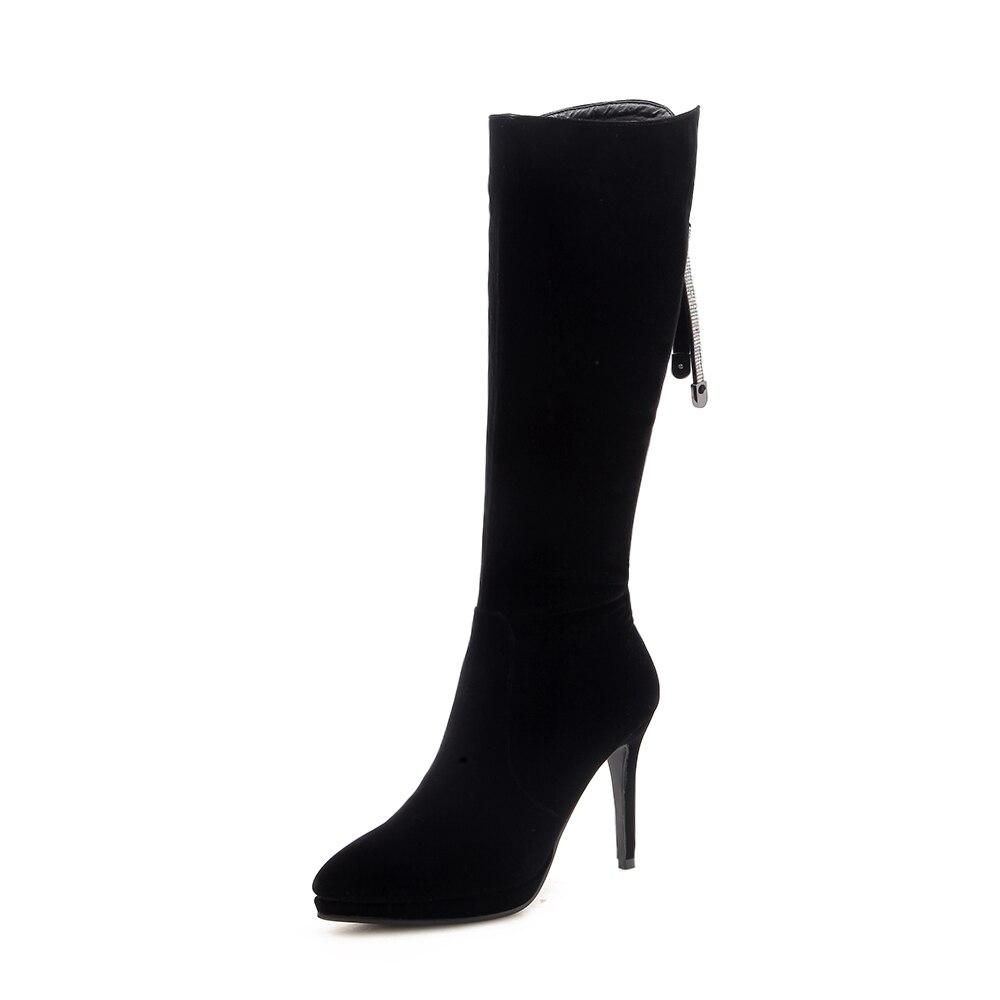 Mujeres Rodilla Mujer Las Tacones La Altos Moda Señoras Sklfcxzy Diseño Y De Nuevas Negro Botas Del Zapatos Otoño Cómodas 0aqATP