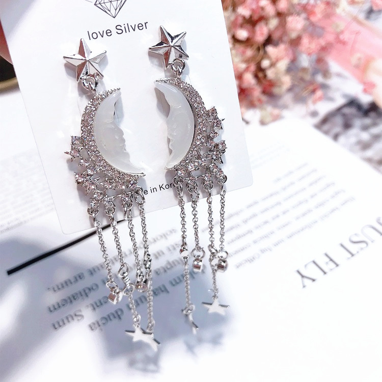 star moonpe pendant earrings long needle metal luxury earrings Crescent Earrings in Drop Earrings from Jewelry Accessories