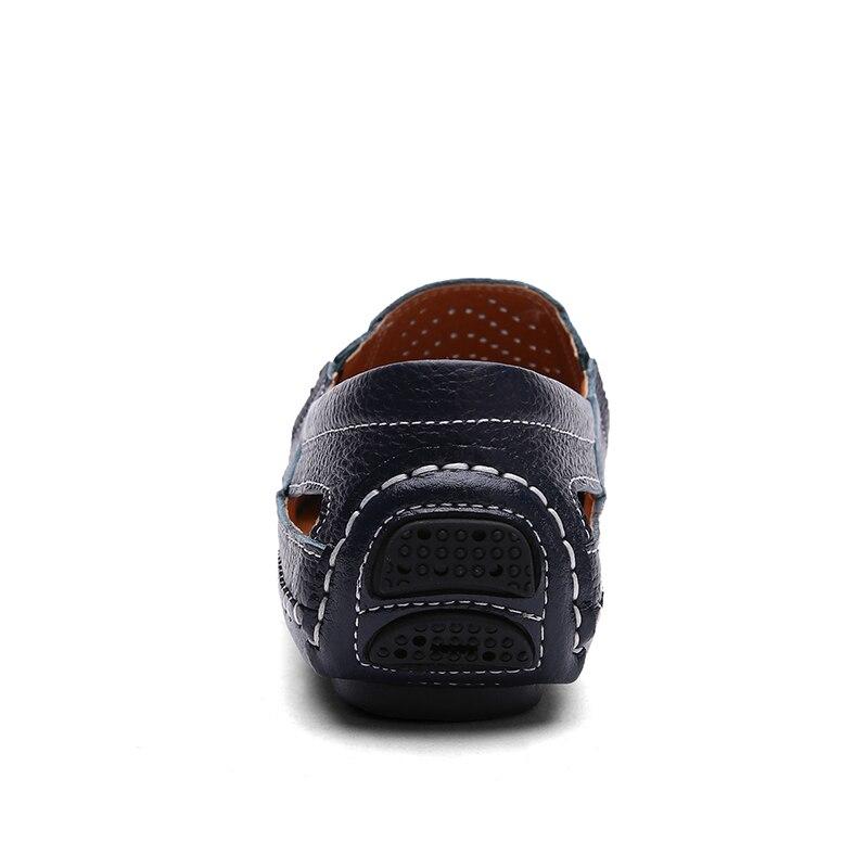 Ocio Para blue brown black Moda A Los Casual Slip On Ahuecan Transpirables Hombres White Hechos Zapatos Mano De 2018 Cuero ETqHE71U
