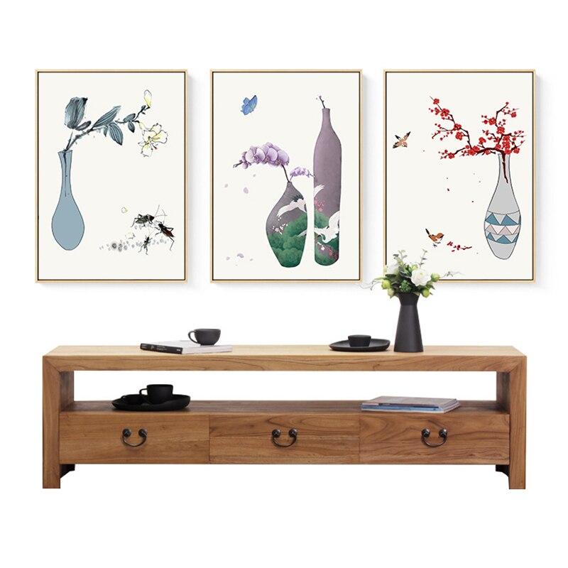 Famous Japan Art Vase Flowers Canvas Painting Butterfly -4653
