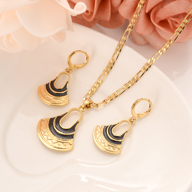 handmade crystal BAG Pendan Necklaces Earrings Gold Color PNG Jewellery Set Papua New Guinea Wedding party women girls gifts