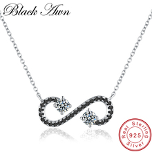 "[BLACK AWN] Fine Genuine 925 Sterling Silver Jewelry Solotaire Necklace Women ""S"" Bijoux Femme Necklaces&Pendants P055"