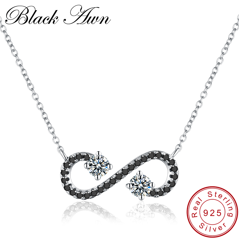 [BLACK AWN] Genuine 925 Sterling Silver Jewelry Solotaire Necklace For Women Female