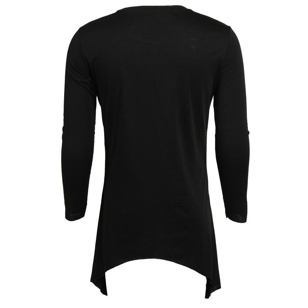 Moomphya 2018 Men Super Stylish Cross Layered Swallow Tail Long Tee Men long sleeve t-shirt Longline hem tshirt streetwear 3