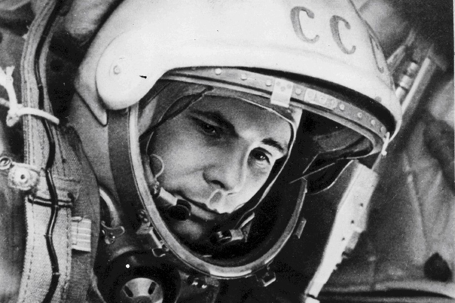 DIY frame yuri gagarin first cosmonaut ussr 80 years old Poster Fabric Silk Poster Print Great Pictures On The Wall For Decor