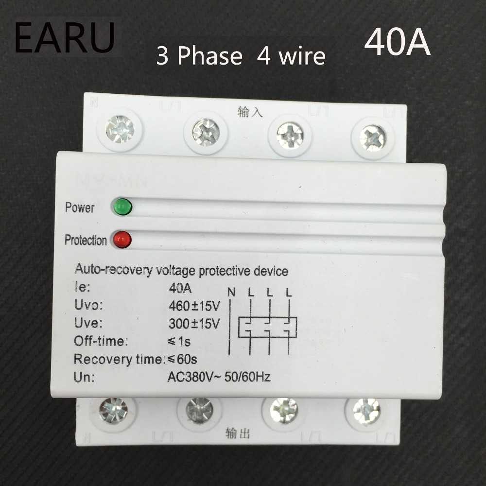 40A 380V 3P+N Din Rail Self Recovery Automatic Reconnect Over & Under Voltage Lightening Protection Protector Protective Relay40A 380V 3P+N Din Rail Self Recovery Automatic Reconnect Over & Under Voltage Lightening Protection Protector Protective Relay
