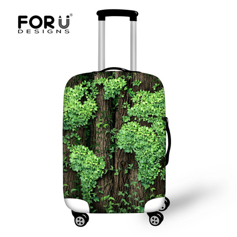 FORUDESIGNS Fashion Travel Accessories 3D Green Leaves Prints Waterproof Rain Cover For 18/20/22/24/26/28/30 Inch Suitcase Case