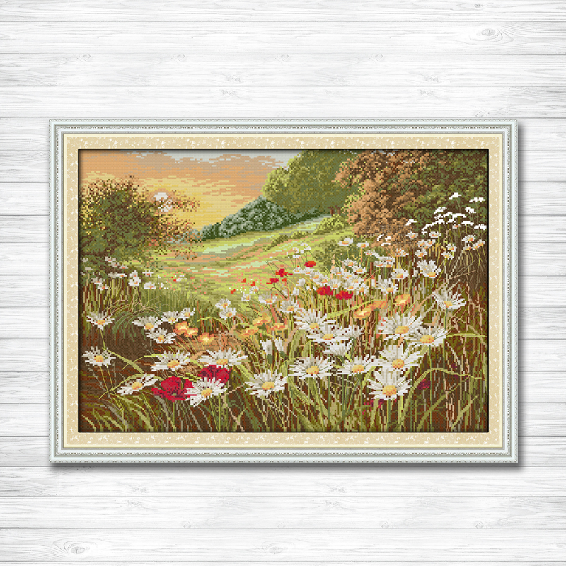 Daisy Beautiful Flowers scenery painting counted printed on canvas DMC 14CT 11CT DMS Cross Stitch Embroider kits Needlework SetsDaisy Beautiful Flowers scenery painting counted printed on canvas DMC 14CT 11CT DMS Cross Stitch Embroider kits Needlework Sets