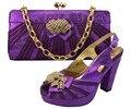 Zapatos italianos Con Los Bolsos Que Emparejan Zapatos Africanos Conjunto de Alta Calidad y Bolsas Establecidas Para la Boda Bombas Tacones Zapatos de Moda Púrpura GF8006