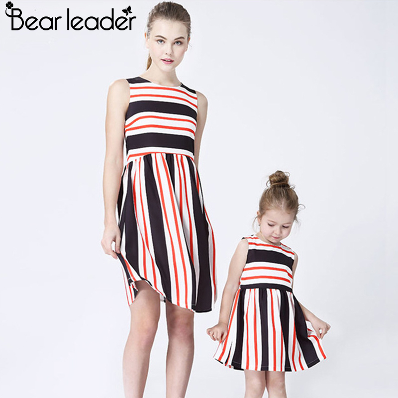 Bear Chief Costume Spring Household Matching Outfits Mom And Daughter Striped Sew Costume Household Matching Garments Household Look