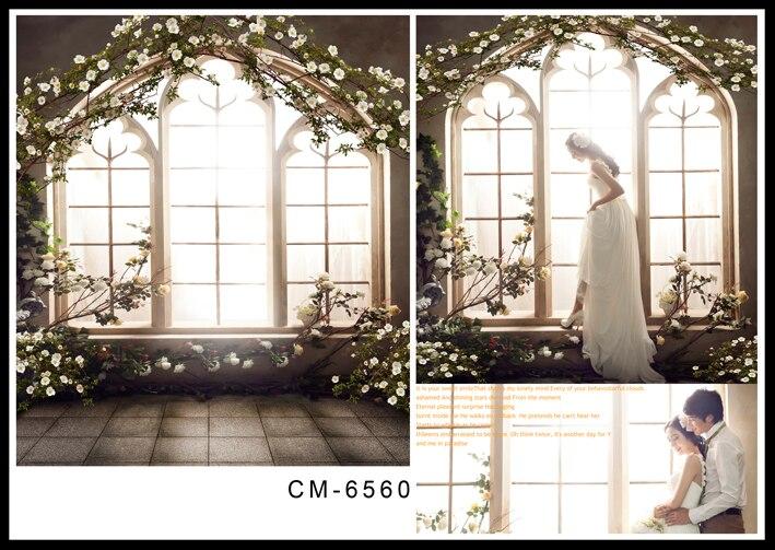 Vintage Wedding Background Backdrops Photography Seek Windows with Brick Floor Background for Photo Studio Custom White Flowers