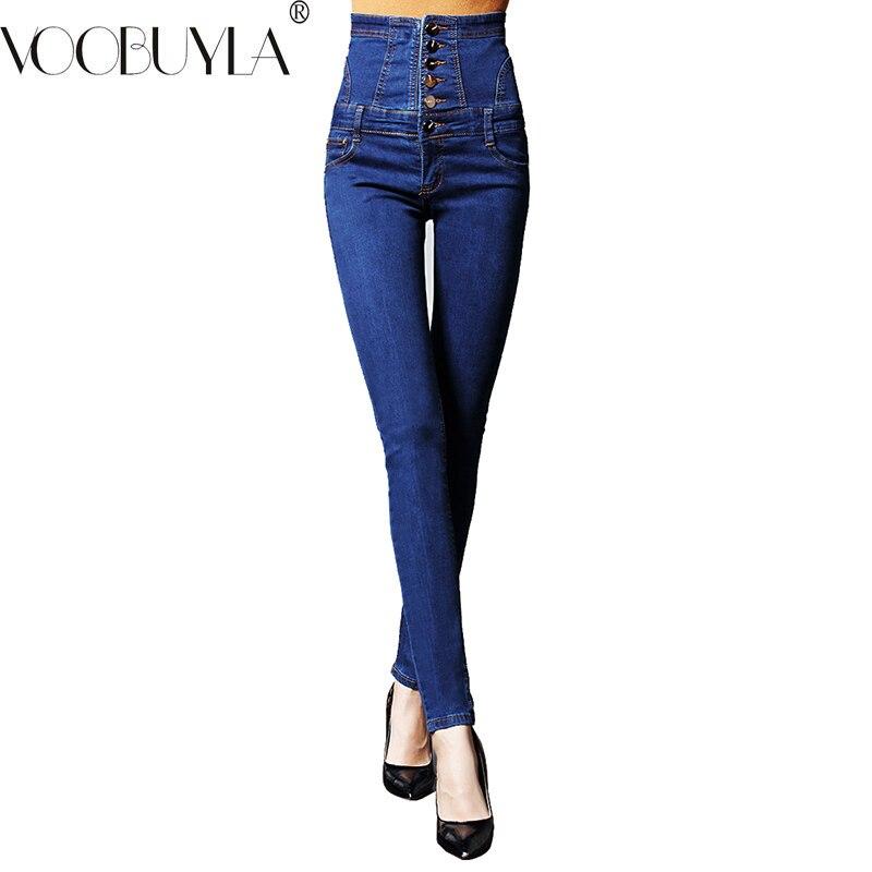 VooBuyla 2019 Brand New High Waist Jeans Women Skinny Denim Pencil Pants Female Plus Size Vintage Elastic Jeans Woman Jeans 6XL