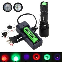 2000Lm Red UV Green 3x XPE LED Flashlight Zoomable Fishing Hunting Lamp Torch With 18650 Battery