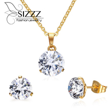 Women jewelry set with cz diamonds african necklace and earrings wedding engagement jewelry set