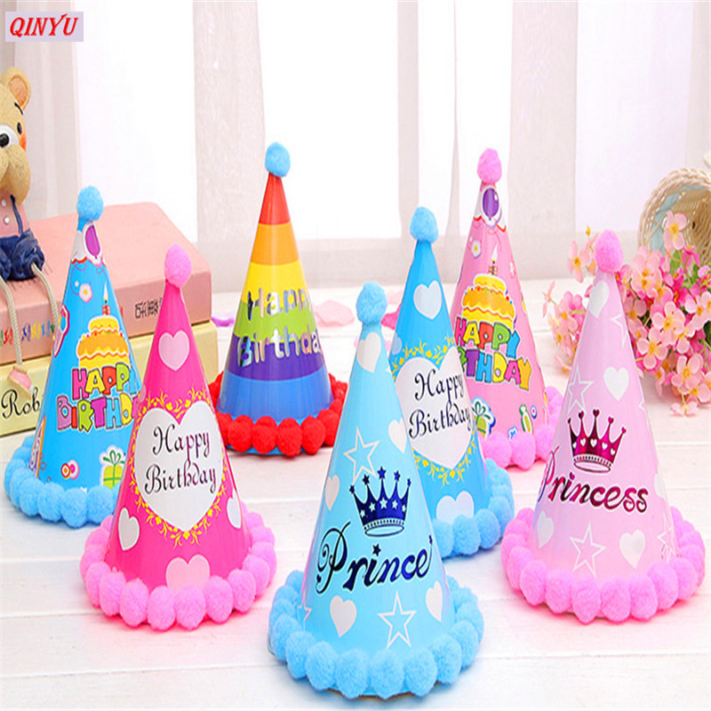 1Pcs Cute Birthday Hat Party Cone Hats Girls First Decorations Paper Cap With Pom For Kids Supplies 6Z