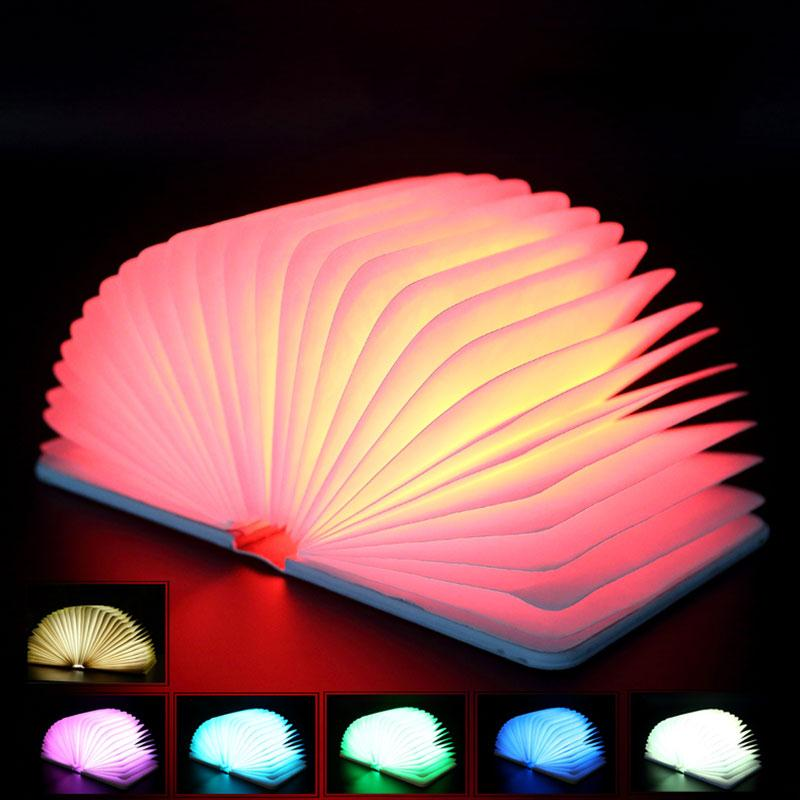 Creative Wooden Foldable Luminaria LED Book Light Lamp USB Rechargeable Multi-Color Night Light Booklights Desk Decoration icoco usb rechargeable led magnetic foldable wooden book lamp night light desk lamp for christmas gift home decor s m l size