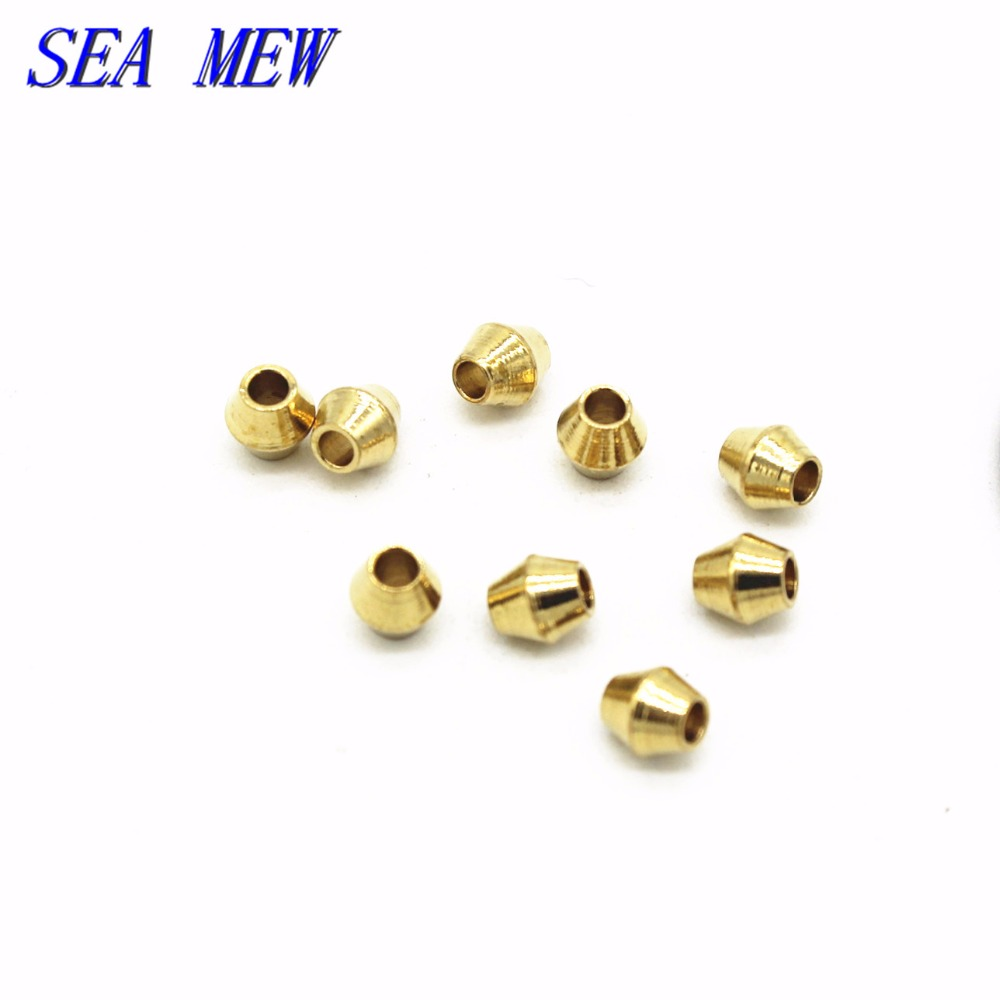 SEA MEW 100 PCS 4mm*3.5mm Metal Raw Brass Rhombus Beads Spacer Beads Hole Beads For Jewelry Making