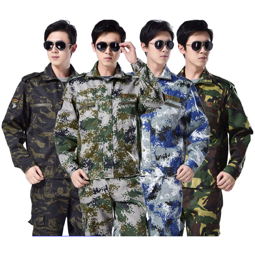 High Quality Adult Military Uniform Combat Jackets Full Sleeve Tops+trousers Tactical Training Camouflage Clothing Set