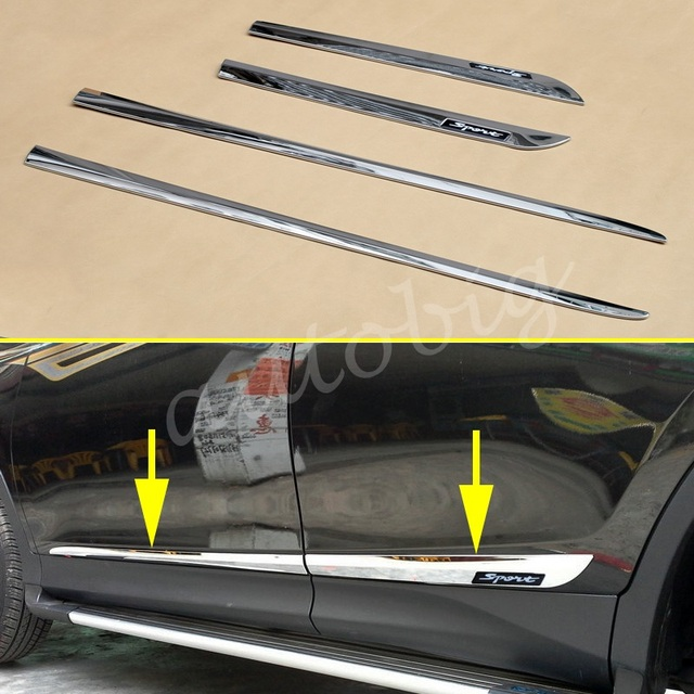 Chrome Car Door Body Side Molding Strips For Toyota RAV4 2013 2014 2015 2016 2017 Sport & Chrome Car Door Body Side Molding Strips For Toyota RAV4 2013 2014 ...