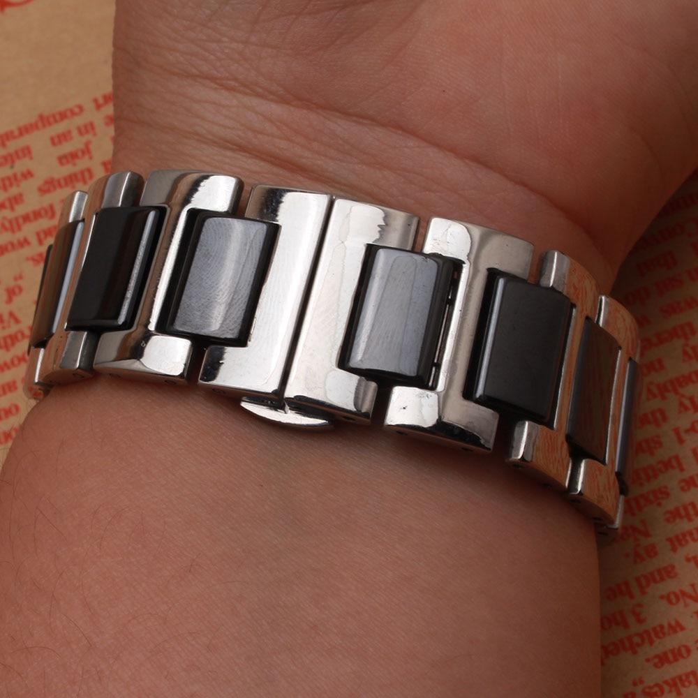 Siyah Kordonlu Saat Seramik paslanmaz çelik gümüş metal saatler - Saat Aksesuarları - Fotoğraf 3