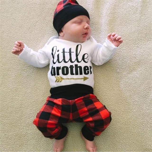 07cff9b544491 US $7.99 26% OFF Aliexpress.com : Buy Autumn Baby Boy Clothing Set Newborn  Cotton Clothes Baby Letter Romper Jumpsuit Long Plaid Pants Cap Infant ...