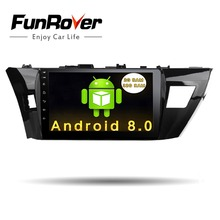 Funrover 10.1″ 2 din Android 8.0 car dvd gps radio multimedia player for Toyota Corolla 2014 2015 navigation stereo wifi RDS usb