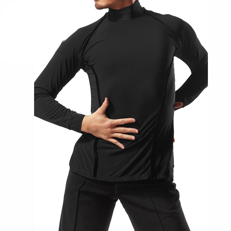 Men'S High Neck Professional Latin Dance Tops Ballroom Dance Practice Clothes Long Sleeves Velvet Adult Flamenco Shirt ZH3089