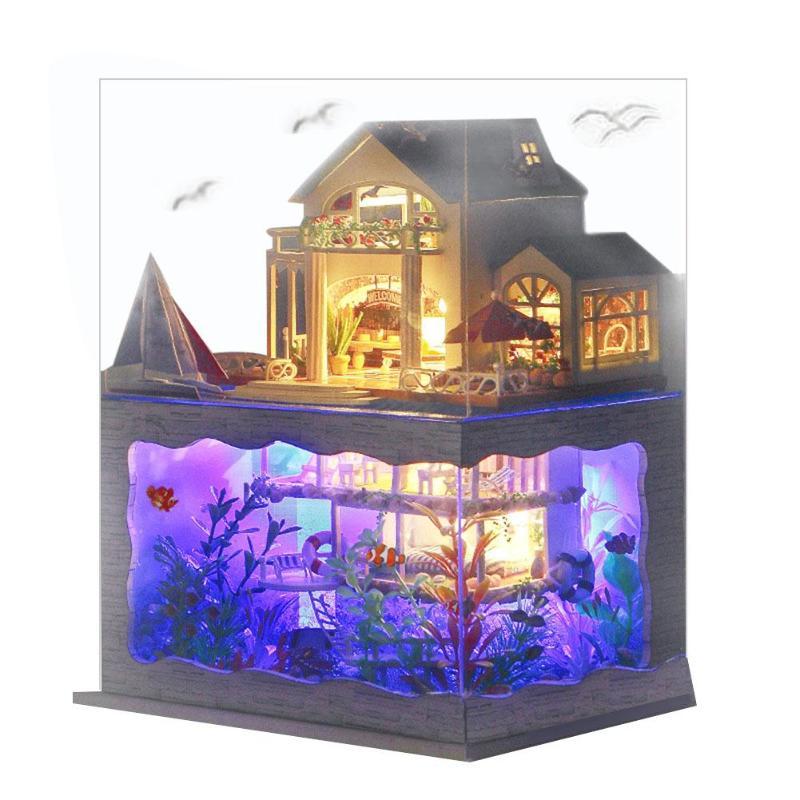 Villa maison de poupée meubles lumière LED bricolage en bois Mini maison de poupée assembler jouet