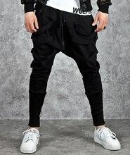 Calças harém masculinas, calças hip hop estilo baggy, cruzadas, tendência, preta, fita, streetwear, casual, para corrida