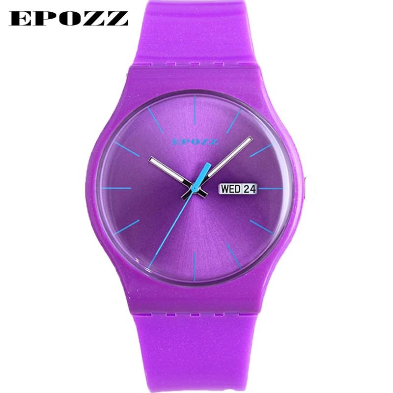 Prix pour Epozz dames design de mode quartz couple montres femmes pourpre simple relojes mujer 2017 50 m étanche auto date Kadin izle
