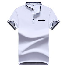Mandarin Collar Short Sleeve White Polo Shirt Men 2017 Fashion Summer Breathable Mens Designer Polo Shirts DT494