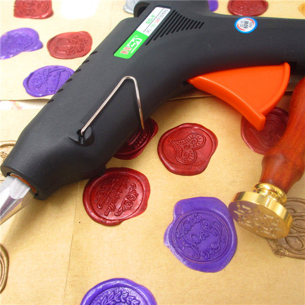 60W Hot Melt Glue Gun for Sealing Wax Stick stamp 100-240V Electric Heat Temperature Tool Fit 11mm Glue Stick DIY Tool US Plug classic red gold white sealing wax stick 16 pcs box with 20w hot glue gun for diy envelope decoration