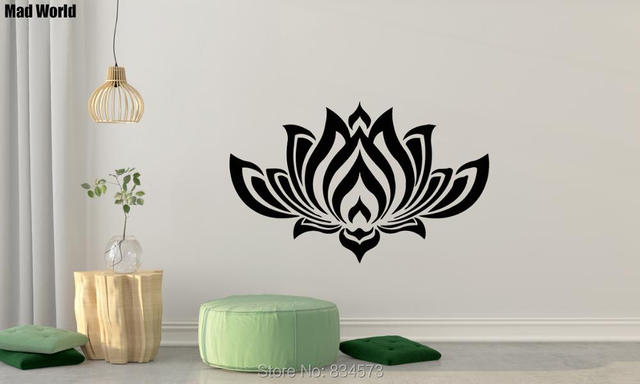 Mad World Beautiful Lotus Flower Buddha Wall Art Stickers Wall Decal Home  DIY Decoration Removable