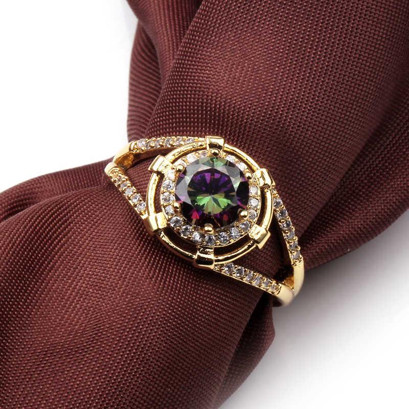 เครื่องประดับ Charm แฟชั่นผู้ชายผู้หญิงแหวน Zircon สีสันสดใส Vintage Gold Filled เครื่องประดับงานแต่งงานของขวัญเพื่อนที่ดีที่สุด