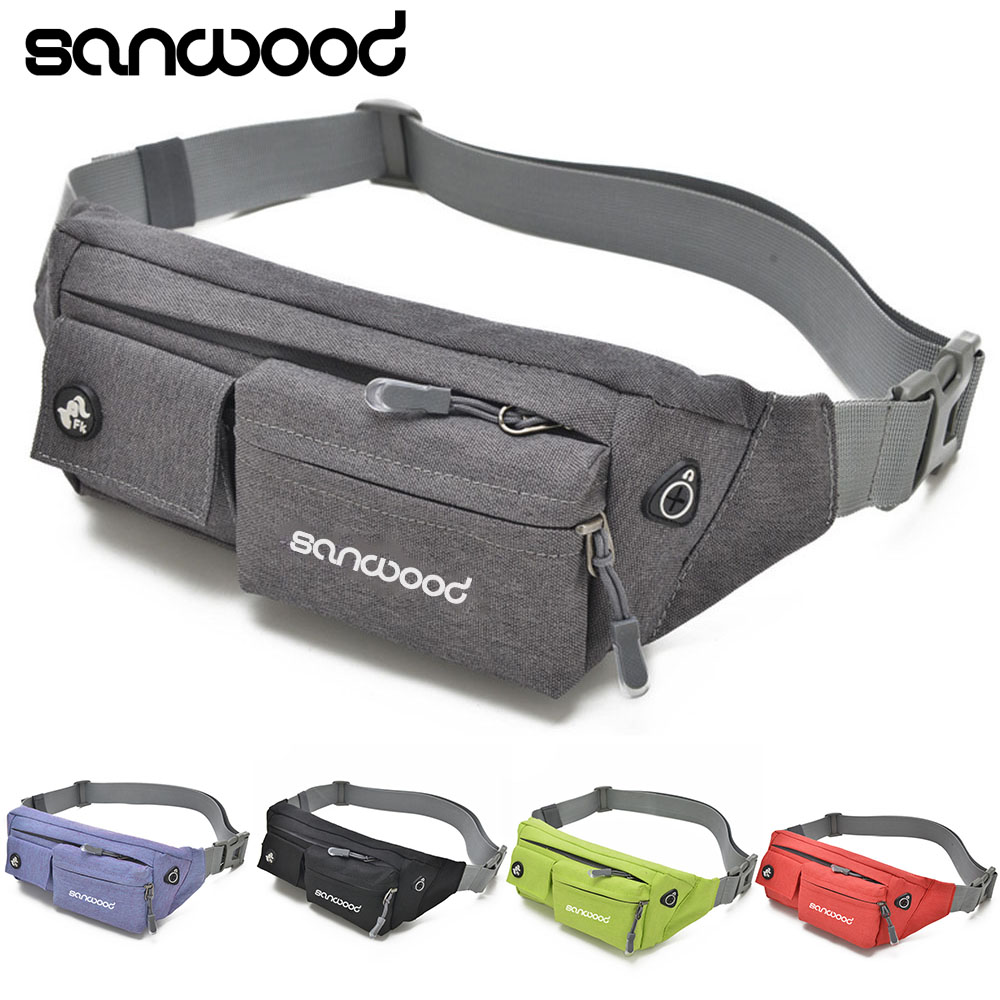 Unisex Waterproof Nylon Zipper Waist Bag Earphone Hole Shoulder Bag Pouch ...